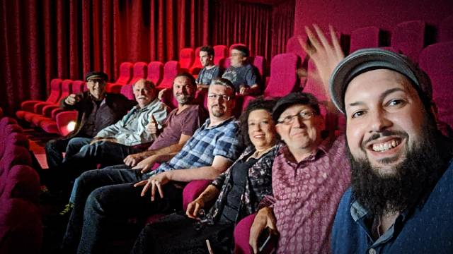 """The Traditional """"We are in our Seats Shot that is sent to London."""